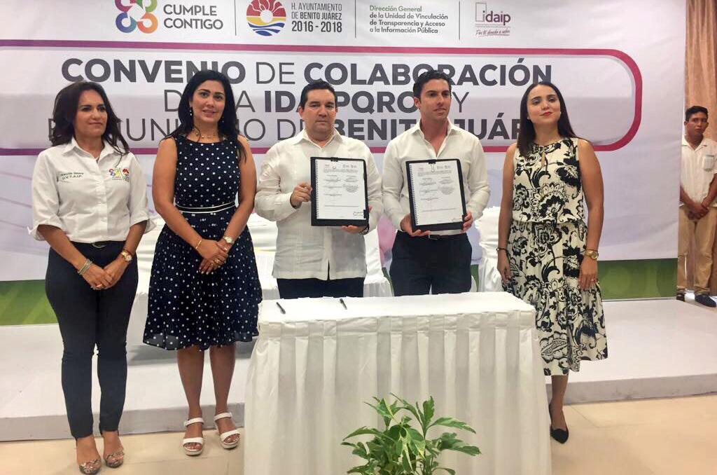 IDAIPQROO Y H. AYUNTAMIENTO DE BENITO JUÁREZ,  FIRMAN CONVENIO DE COLABORACIÓN EN MATERIA DE TRANSPARENCIA Y ACCESO A LA INFORMACIÓN PÚBLICA