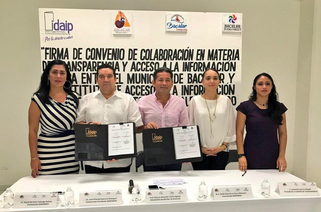IDAIPQROO Y H. AYUNTAMIENTO DE BACALAR, SELLAN MEDIANTE FIRMA SU COMPROMISO DE COLABORACIÓN EN MATERIA DE TRANSPARENCIA