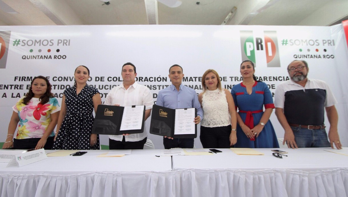 IDAIPQROO Y PRI FIRMAN CONVENIO DE COLABORACIÓN EN MATERIA DE TRANSPARENCIA Y ACCESO A LA INFORMACIÓN PÚBLICA